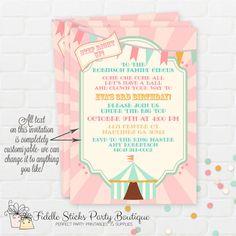 Vintage Pastel Circus Invitation Carnival by FiddleSticksBoutique