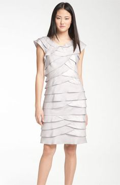 Adrianna Papell Cap Sleeve Shutter Pleat Dress available at #Nordstrom $158 Cap Sleeves, Dresses With Sleeves, Tiered Dress, Adrianna Papell, Shutter, Nordstrom Dresses, Neckline, My Style, Fashion