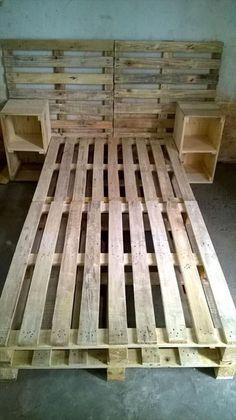 Pallet Bed Frame with Side tables and Headboard - 30 Easy Pallet Ideas for the Home   Pallet Furniture #DIY by Lisa Evans-Wells #diybedframeseasy #palletfurniturebeds