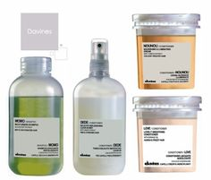 Davines Momo Shampoo (green bottle) is your basic moisturizing shampoo.I Dede (white bottle) is a spray in mist conditioner for fine hair. Love conditioner (pink tub) Smoothing conditioner.... a little heavy.... good for thick course hair. Nounou conditioner (peach tub) conditioner for any type or color treated hair...containes Tomato extract.....Love it because all of these roducts aree 98% organic!