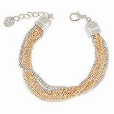 Bracelet 5 rangs doré et argenté