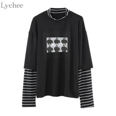 """Fashion Autumn Women T Shirt Letter Print Stripe Patchwork Casual Loose Long Sleeve T Shirt trend bottoming shirt Tee Top"" Edgy Outfits, Mode Outfits, Fashion Outfits, T Shirt Manga, Teenager Outfits, T Shirts For Women, Clothes For Women, Aesthetic Clothes, Swag Outfits"