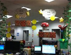 Mario bro's decorated cubicles. #cubiclesdecor