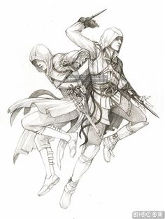 Ezio and Altair by *akreon on deviantART