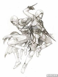 Ezio and Altair by *akreon on deviantART