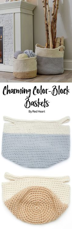 Charming Color- Block Baskets free crochet pattern in Comfort yarn.
