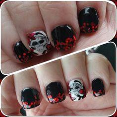 Hand Painted skull nails by Mandi st Jama Nail and Beauty Bar