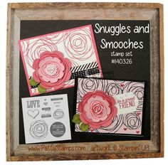 Snuggles and Smooches stamp set - monthly release from Stampin' Up!. Stamp swirl stamp as a background and also on flower die cuts for embellishments on these handmade cards. by Patty Bennett #stampinup #snugglesandsmooches