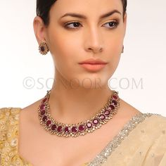NEC/1/3428 Aarvi Necklace Set with Earrings in silver victorian finish studded with agate and citrine czee stones  $328