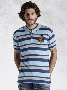 Roadster Blue & Grey Striped Polo T-shirt