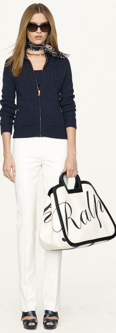 Cashmere blend Black Label Cable-Knit Moto Cardigan with gold hardware shown in midnight blue, and the Large RL Logo Tote.