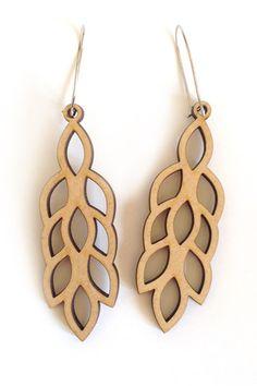 Falling Leaves Earrings – Laser cut earrings available in wood, frosted perspex & black perspex. Lead & nickel free teardrop posts.