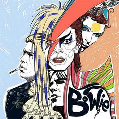 Bowie fanart by Elisaveta Petrova (nutthead on DA) Angela Bowie, David Bowie Starman, David Bowie Art, Music Love, Rock Music, Duncan Jones, Ziggy Played Guitar, El Rock And Roll, Major Tom