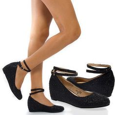 Women Black Ankle Strap Mary Jane Rhinestone Wedge Low Heel Pump Party Shoes 9 #anklestrapsheelslow