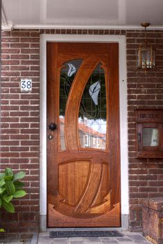 My front door. Based on the art nouveau. DIY cnc project from recycled Wood.