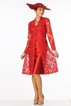 Elegant red lace coat over silk dress