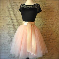 Blush Pink Tulle Skirt for Women. ($235) ❤ liked on Polyvore featuring skirts, grey, women's clothing, pink ballet tutu, pink tutu, ribbon tutu, tulle tutu and long tutu skirt