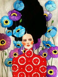 Por amor al arte: Hülya Özdemir Painting Inspiration, Art Inspo, Illustration Art, Illustrations, Portrait Art, Portraits, Face Art, Canvas Art Prints, Art Drawings