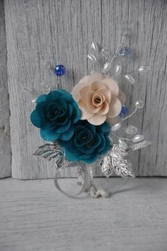 Blue and White Wooden Roses Corsage Brooch | AccentsandPetals - Wedding on ArtFire