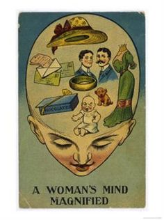 A Woman's Mind Magnified. Anti Suffrage Poster of Patricia Leeming (L. Tickner 'The Spectacle of Women Darwin Awards, Fee Du Logis, Arte Horror, Old Cartoons, Look Vintage, Old Ads, Art Graphique, Vintage Advertisements, Funny Vintage Ads