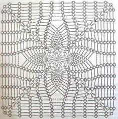 Scheme crochet no. 3135 - Her Crochet Crochet Doily Diagram, Crochet Motif Patterns, Granny Square Crochet Pattern, Crochet Blocks, Crochet Chart, Crochet Squares, Crochet Granny, Filet Crochet, Crochet Designs