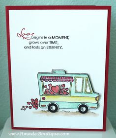 """I love one of 2017 Sale A Bration set """" Tasty Trucks"""" set. This set can be combined many other stamp sets. Valentines Greetings, Valentine Day Cards, Holiday Cards, Valentine Ideas, Scrapbooking, Scrapbook Cards, Valentine's Cards For Kids, Wedding Anniversary Cards, Stamp Sets"""