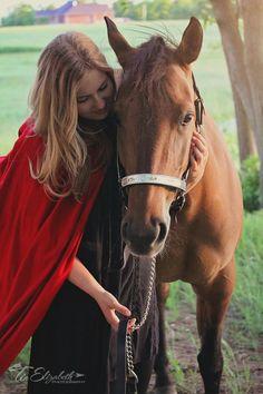 Sunset, hood, cape and a quarter horse