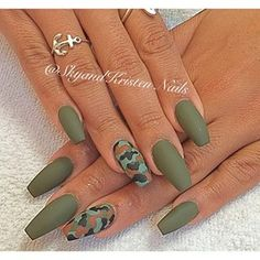 olive green gel coffin nails - Google Search