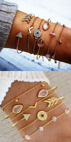 Fashion Compass Crushed Stone V type Arrow Six-piece Open Women Bracelet #bracelet #arrow