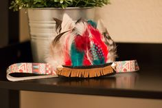 Red Turquoise and Brown Aztec Feather by InsideQuinnsCloset