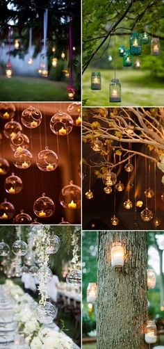 I like the bottom left one, but with ivy -- country rustic hang candles decoration ideas for outdoor weddings