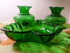 3 Piece Retro Forest Green Glass Set by VintageRainbowShop on Etsy