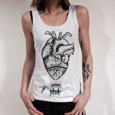 Anatomical heart - hot air balloon Women's Tank Top - printed. Screenprint handmade design. Melange white. Top for her,slim fit. t shirt