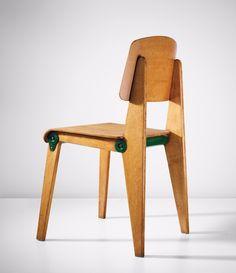 Jean Prouvé; #CB 22 Oak and Enameled Metal Demountable Chair, c1948.