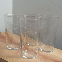 Weston Louie Glass Company set of 4 Clear Etched Glass Drinking Glasses. Sold by DanushasCollectibles vintage Etsy Shop.