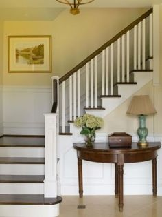 Traditional .. love! Basement Steps, Entry Hall, Entry Stairs, House Stairs, Front Stairs, Front Entry, Stair Railing, Banisters, Railings