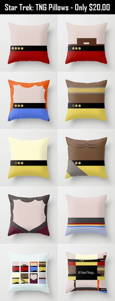 Click here to see unique Star Trek: The Original Series pillows #StarTrek Each pillow was designed by casting a minimalist view of the main crew of the USS Enterprise 1701 D Re-pin this so others can see these new items. @ThinkGeek @Star Trek @Society6  Jean Luc Picard, William T Riker, Beverly Crusher, Geordie La Forge, Data, Worf, Deanna Troi, Wesley Crusher, All Good Things...
