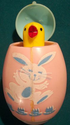 Vintage hard plastic chick in egg. Makes a noise when opened!