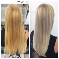 """Kelsey Curtis (@kelseycurtis.stylist) of Habit Beauty Salon, Gilbert, AZ, posted this gorgeous LOB that caught our eye. We tracked down Curtis to get the scoop. """"This client began with about 3 inch regrowth of natural level 8/9 hair and bleached ends."""" Here she shares the HOW TO: Step 1: Place babylights all over with 20 Goldwell Oxycur and 20 volume developer, leaving natural shade between foils. Process to level 10 (approimately 20 minutes.)"""