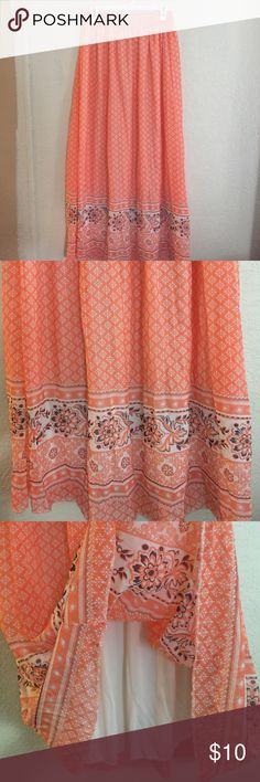 Lined maxi skirt Wide elastic waist with full length lining.  Light and breezy-flowing skirt. Coral cream and black. NWOT Rue 21 Skirts Maxi