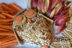 Owl Cheeseball with Cracker, Carrots and Apples Woodland Theme Baby Shower  - The Food
