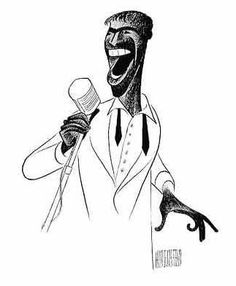 Al Hirschfeld - Sammy Davis Jr. Artist Profile, Cartoon Illustration, Illustration, Caricature, Funny Caricatures, Celebrity Drawings, Music Art, Black And White Portraits, Star Pictures