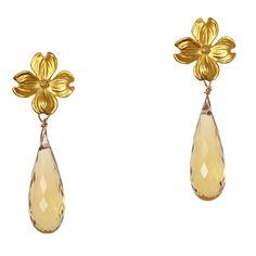 Small Dogwood Earrings w/ Stone Drops $294