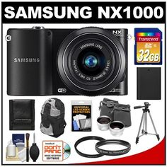 Samsung NX1000 Smart Wi-Fi Digital Camera Body & 20-50mm Lens (Black) with 32GB Card + Case + Battery + Tripod + Telephoto & Wide-Angle Lenses + Filter + Accessory Kit by Samsung. $479.95. Kit includes:♦ 1) Samsung NX1000 Smart Wi-Fi Digital Camera Body & 20-50mm Lens (Black)♦ 2) 32GB Card ♦ 3) Sling Backpack (Black/Silver) ♦ 4) UV Filter ♦ 5) Battery ♦ 6) Tripod ♦ 7) LCD Protectors ♦ 8) Memory Card Wallet♦ 9) Cleaning Kit ♦ 10) Zeikos .45x Wide Angle & 2.5x ...