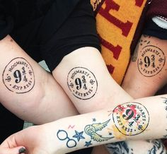 Harry Potter Platform 9 3/4 tattoo. Harry Potter tattoos both big and small are perfect for every kind of Potterhead. Check out our favorite Harry Potter tattoos above!
