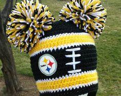 Pittsburgh Steelers Inspired Crochet Hat, Steelers Beanie, Crocheted Winter Hat, Pittsburgh Steelers Women, Pittsburgh Steelers Kids