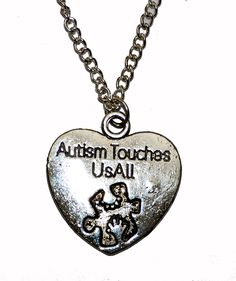 Autism Touches us all Silver Plated Necklace. Special Needs Heart. by thelongwayround on Etsy