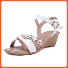 VogueZone009 Women's Open Toe Kitten-Heels Soft Material Assorted Color Buckle Wedges-Sandals, White, 39 - Sandals for women (*Amazon Partner-Link)