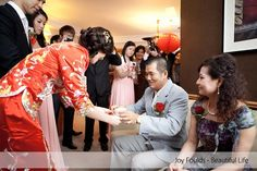 Chinese wedding tea ceremony. Paying respect to the parents.