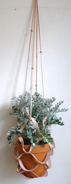 Leather + Etched Bead Plant Hanger